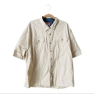 Wrangler Tan Short Sleeve Button down -3XL